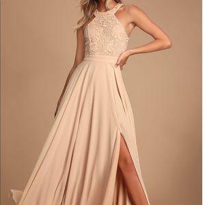 Lulu's Blush Lace Long Dress
